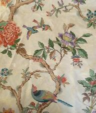 "Ivory Damask Drapery Fabric Asian Bird Flower Peony Print 1 YD by 54"" Upholstery"