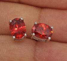 18K White Gold Filled - 6*8MM Oval Ruby Topaz Cocktail Charm Women Stud Earrings