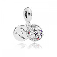 ALWAYS BY YOUR SIDE Charm Bead Dangle 925 Sterling Silver