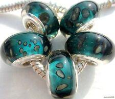 5PCS Silver Single Core Murano Lamp Glass Beads fit European Charm Bracelet A062
