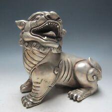 Oriental Vintage Chinese Silver Bronze Handwork Carved Lion Statue   0109