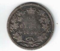 CANADA 1899 TWENTY FIVE CENTS QUARTER QUEEN VICTORIA STERLING SILVER COIN