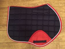 Sheldon Close Contact Jumping Saddle Pad, navy with red (silver trim), Full