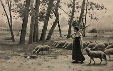 Troupeau de moutons au pâturage d'après Henry LEROLLE graveur RODRIGUEZ