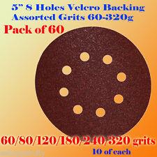 """60x 5"""" 8 Hole 60/80/120/180/240/320 Grit Sandpaper Disc Sanding Sander Paper"""