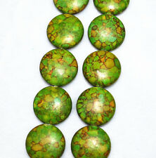 HOO 20mm Turkey Natural Green turquoise Coins loose beads 15""