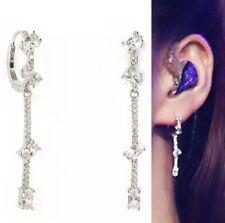 925 Sterling Silver CZ Huggie Hoop Drop Dangle Bridal Earrings Jewellery Boxed