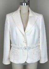 Ann Taylor Petites Wool Belted Blazer Ivory 10P