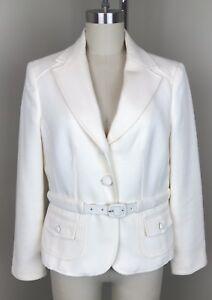 Ann Taylor Petites Wool Belted Blazer Ivory 10P