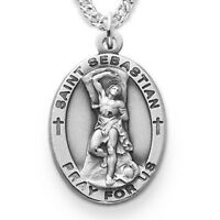 Sterling Silver Oval Saint Sebastian Patron of Athletes Medal, 7/8 Inch