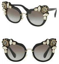 138f4b1875e MIU MIU RUNWAY JEWEL SMU 04S Black Gray Gradient Cat Eye Sunglasses MU04SS
