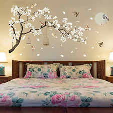 Set of 2 Chinese Style Flowers Black Tree and Flying Birds Wall Stickers Remo...