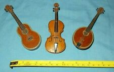 "Vintage Miniature Wooden String Instruments / Guitar Lot of 3   (approx. 5"" in.)"
