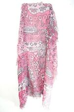 Pink Ladies Negro Gráfico/Cuadros Bufanda a rayas de inspiración floral con borlas (MS31)