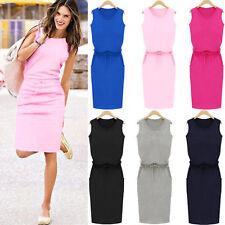 Womens Holiday Sleeveless Pockets Sundress Ladies Summer Beach Party Shirt Dress