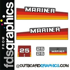 Mariner 25hp rainbow outboard engine decals/sticker kit