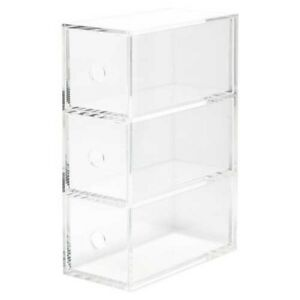 MUJI Acrylic Case 3 Drawer Storage Case W8.7 x D17 x H25.2cm Japan with Tracking