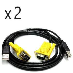 2 Pack - 5ft KVM Switch Cable - USB VGA Wire Cord 3-in-1 Keyboard Video Mouse PC