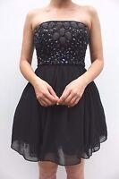 Needle & Thread Black Embellished Prom Sequin Skater Evening Dress 6 -  8 New