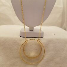 Gold Double Circle 26 Inch Chain Necklace
