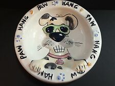 OUT OF NOWARE Handcrafted Hand Painted Dog Bowl 1995 One of a Kind Surf HANG PAW
