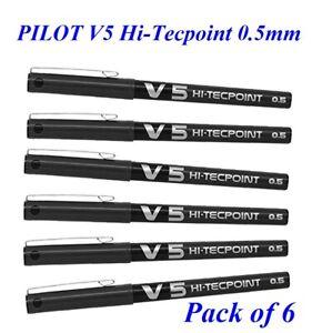 6 x Pilot Hi-TecPoint V5 0.5mm Liquid Ink Rollerball Pen BLACK - Pack of 6 Pen
