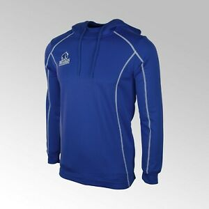 RHINO TECH HOODED TOP, ROYAL SIZE MEDIUM RUGBY PITCHSIDE WITH ZIP POCKETS