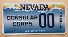 """NEVADA SAMPLE LICENSE PLATE EMBOSSED """" 00 """" NV CONSULAR CORPS DIPLOMAT CONSUL"""