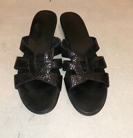 Munro Womens Leather Slip on Sandals Shoes Slides Black Size 8