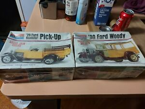 Monogram 1/24 Scale Plastic Model Kit. 1930 Ford Woody and 1929 Ford Roadster.