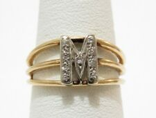Solid 14k yellow gold initial M Diamond Ring size 6