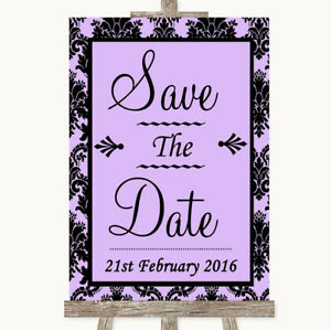 Wedding Sign Poster Print Lilac Damask Save The Date
