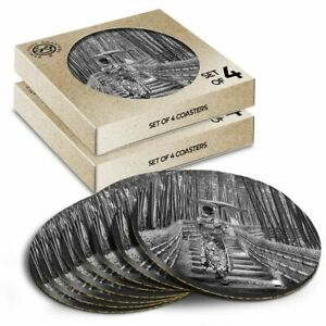 8 x Boxed Round Coasters - BW - Bamboo Forest Japanese Woman #42524