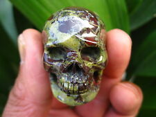 33g RARE Carved NATURAL dragon blood stone crystal SKULL RING healing