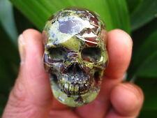 33g RARE Carved NATURAL dragon blood stone crystal SKULL RING healing