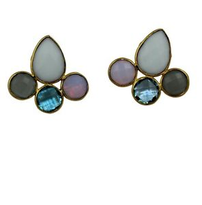 White Agate Blue Topaz Opalite Quartz Yellow Gold Plated Stud Earrings For Her