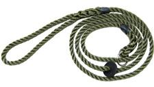 Bisley Deluxe Dog / Gundog Rope Slip Lead, Gentle on Wrist Green