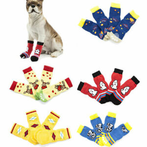 4Pcs Pet Dog Cat Cotton Anti-slip Socks Puppy Knit Weave Cute Skid Bottom Shoes