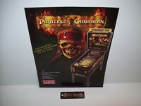 PIRATES OF THE CARIBBEAN STERN 2006 ORIGINAL PINBALL NOS FLYER + NOS KEY CHAIN