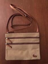 Dooney & Bourke Triple Zipper Tan Crossbody Bag