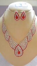 Red & Silver colour Diamante Necklace & earrings set Silver colour chain