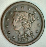 1855 Braided Hair Large Cent Copper FINE Genuine 1c Penny US Coin M7