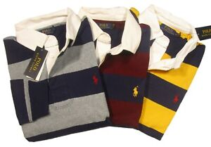 Polo Ralph Lauren Men's Striped Classic Fit Rustic Rugby Long Sleeve Polo Shirt