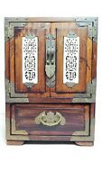 Vintage Chinese Wood with Brass Trim Jewelry Box Carved Inlay Silk Lined Drawers