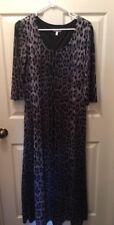 FASHION BUG Size XL Animal Print Black Silver Scoop Neck 3/4 Sleeve Maxi Dress
