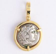 Ancient Greek Coin Alexander the Great Silver Drachm in 14Kt Gold Pendant
