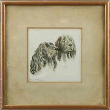 Original Signed Framed Dated Art Deco Spaniel Dogs Watercolour Portrait Painting