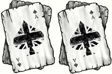Distressed ACE OF B&W Union Jack Flag Playing Cards MOD Rocker vinyl Car sticker