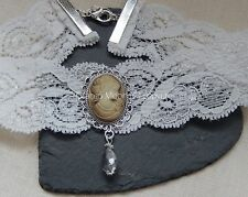 Off White Lace Victorian Choker/Necklace Lady Cameo/Crystal Drop Bridal UK