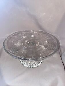 """Vintage Glass Cake Stand 8.5"""" Grapes Clear Glass"""